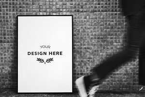 Picture frame mockup on the street
