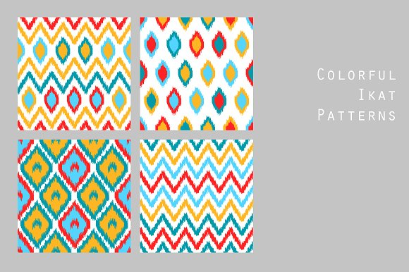 Colorful Ikat Patterns Set Vector