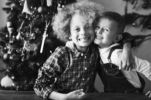Best friends hugging at christmas