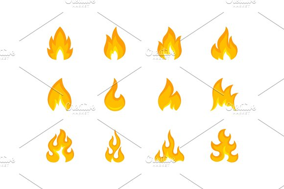 Collection Of Multicolored Shapes Of Flame