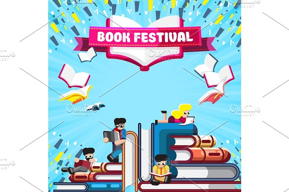Colorful Poster For Festival Of Book