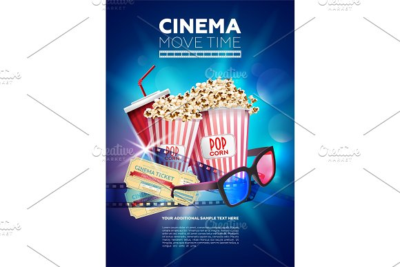 Colorful Poster For Cinema Time