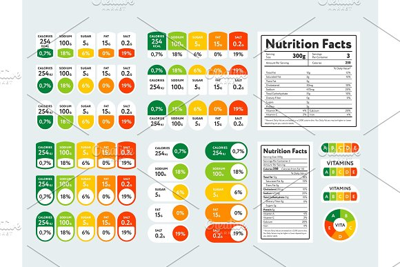 Set Of Nutrition Facts And Elements