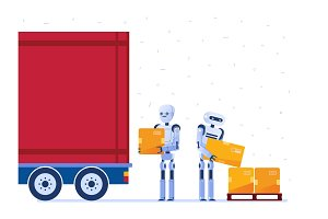 Warehouse robot workers loading truck with boxes.