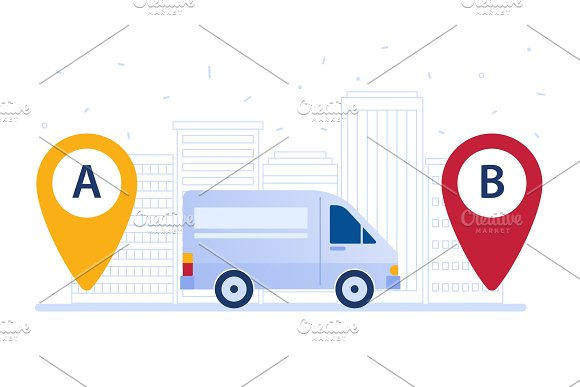 Delivery Van Shipping Cargo According To Delivery Route