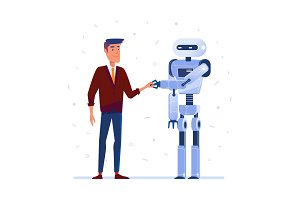 Robot and human shaking hands.