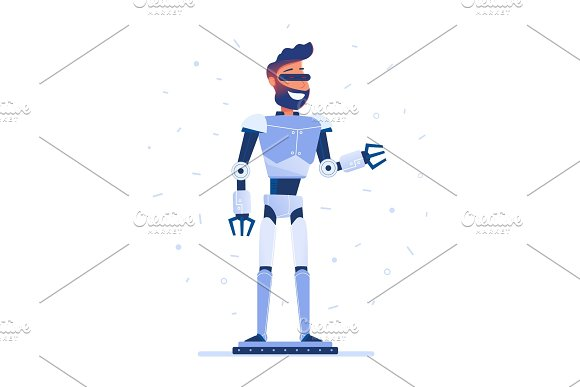 A Man With Robot Body In VR Headset