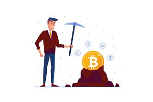 Caucasian man mining crypto currency coins