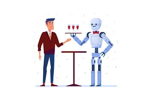 Robot waiter serves wine to a man