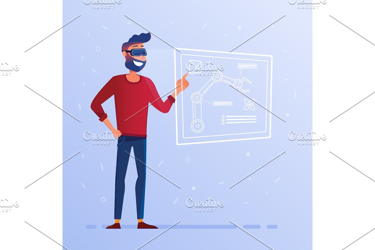 A man in VR headset with hud interface showing technological blueprint with  robotic arm