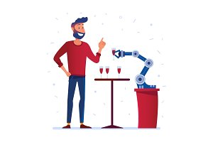 Robotic hand serves wine to a man