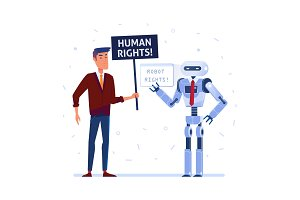 Robot and human fighting for the rights.