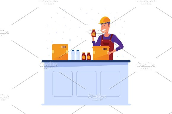 Warehouse Worker Packing Goods In Boxes
