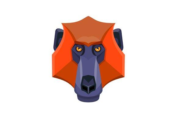 Baboon Head Flat Icon