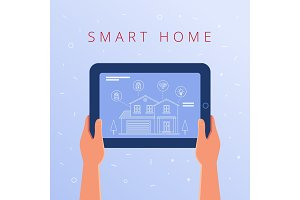 A tablet with smart home settings and controllers system.