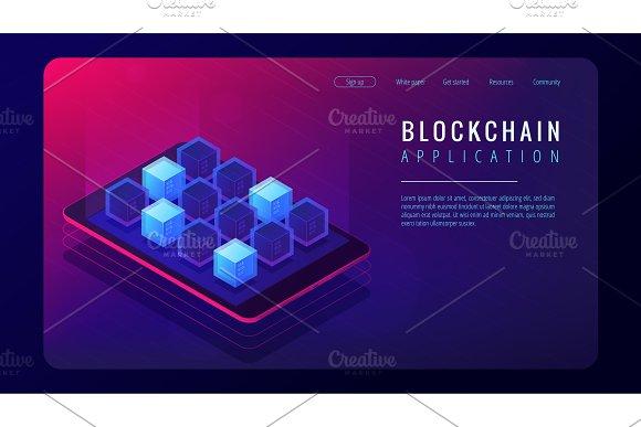 Isometric Blockchain Application Landing Page Concept