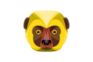Diademed Sifaka Lemur Head Flat Icon