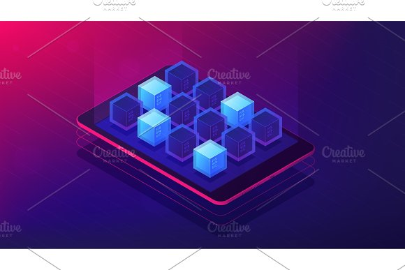 Isometric Blockchain Application Landing Page Concept