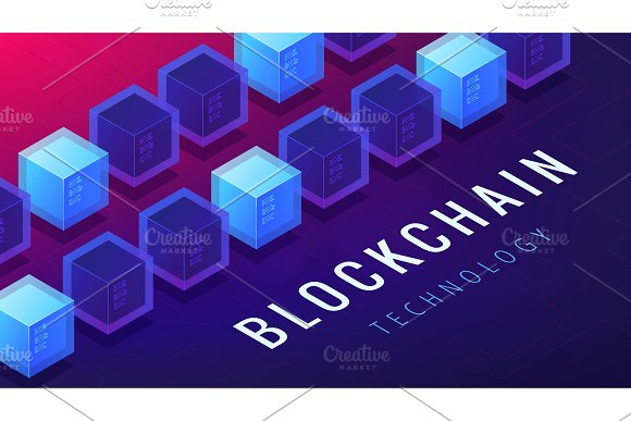 Isometric Blockchain Cryptocurrency Networking Concept