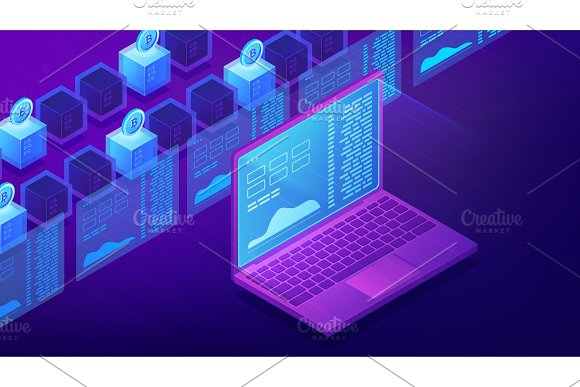 Isometric Cryptocurrency Trading Landing Page Concept