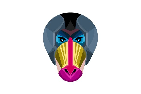 Male Mandrill Head Flat Icon
