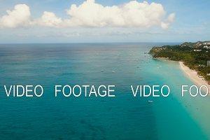Aerial view beautiful beach on tropical island. Boracay island Philippines.