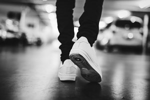 Street fashion jeans and sneakers