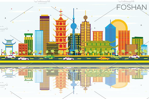 Foshan China Skyline With Color