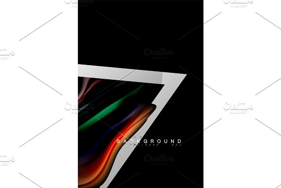 Liquid Fluid Colors Holographic Design With Metallic Style Line Shape