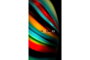 Abstract wave lines fluid rainbow style color stripes on black background. Artistic illustration for presentation, app wallpaper, banner or poster