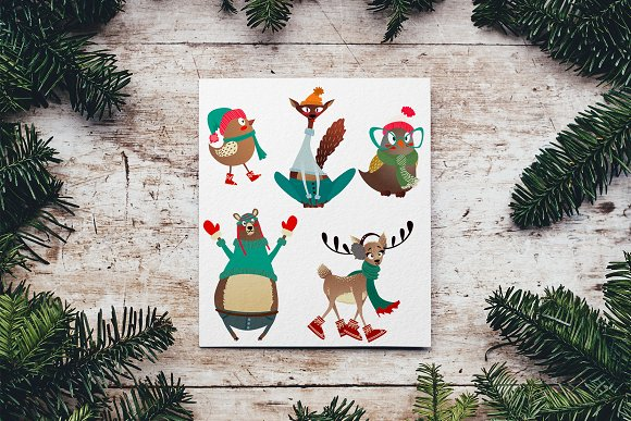Vector Christmas Animal Set