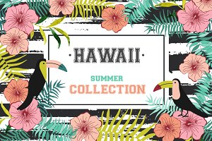 Hawaii flowers. Summer collection