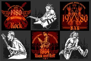 Rock vintage labels and illustratins