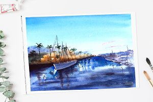 A Bay View Watercolor Print