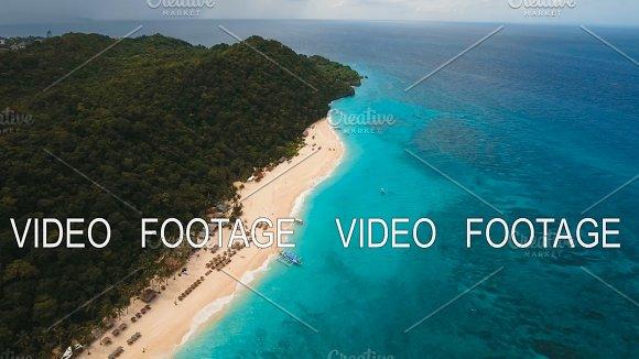 Aerial View Beautiful Beach On Tropical Island Boracay Island Philippines