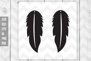 Feather earrings svg,dxf,ai,png,eps