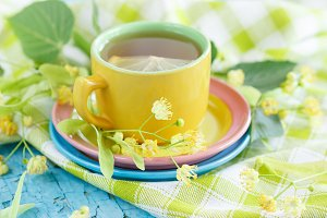 Herbal tea with linden blossom