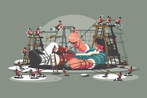 Gulliver lies bound by ropes