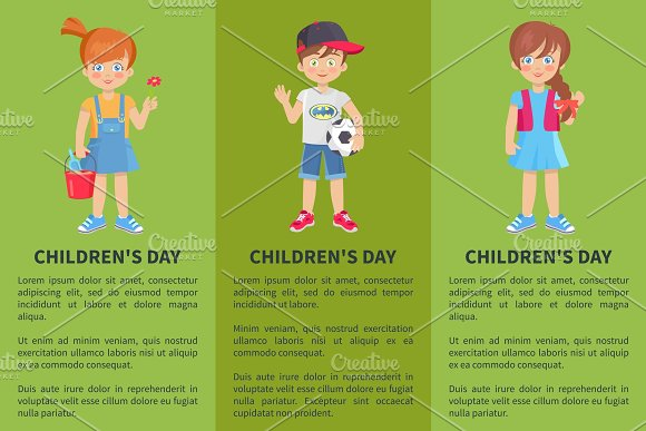 Childrens Day Web Banner With Playful Boy And Girl