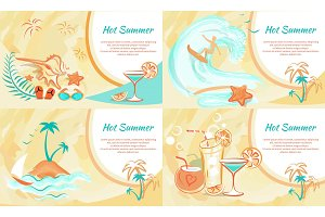 Hot Summer Web Banner with Entertainment Kinds