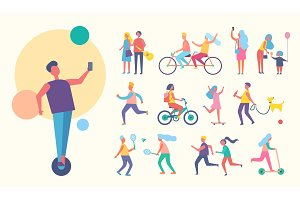 People Doing Sport Active Vector Illustration