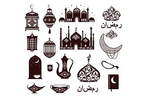 Ramadan Kareem Festival Symbols in Black Colors