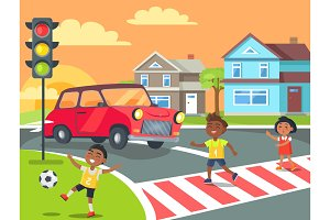 Children Playing and Crossing Road Illustration