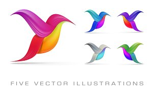 Hummingbird abstract symbols