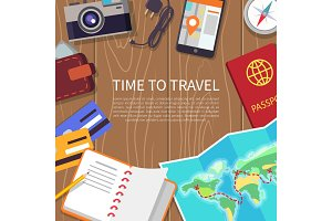 Time to Travel Poster Set Vector Illustration