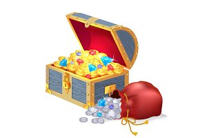 Chest Full of Treasures and Bag of Silver Coins