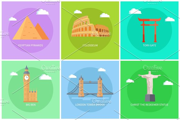Popular World Sights On Colorful Promo Banners Set