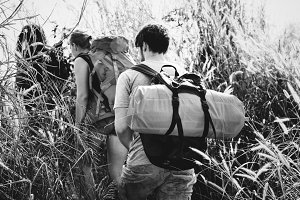 Backpackers on an adventure outdoor