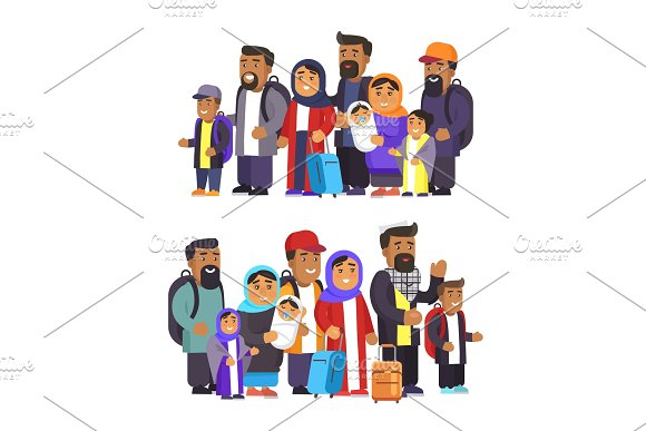 Arabian People Collection Vector Illustration