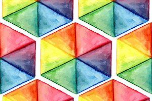 Vector  Watercolor Geometric Seamles